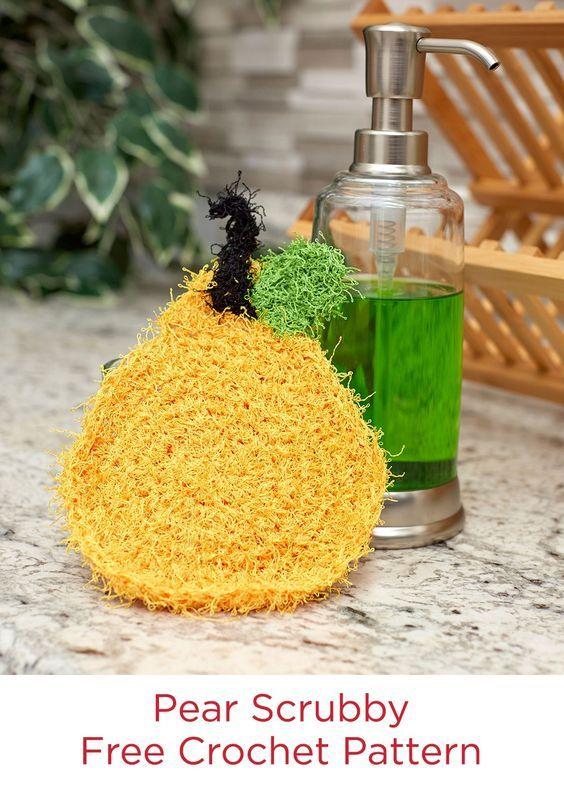 Pear Scrubby Free Crochet Pattern in Red Heart Scrubby Yarn ...