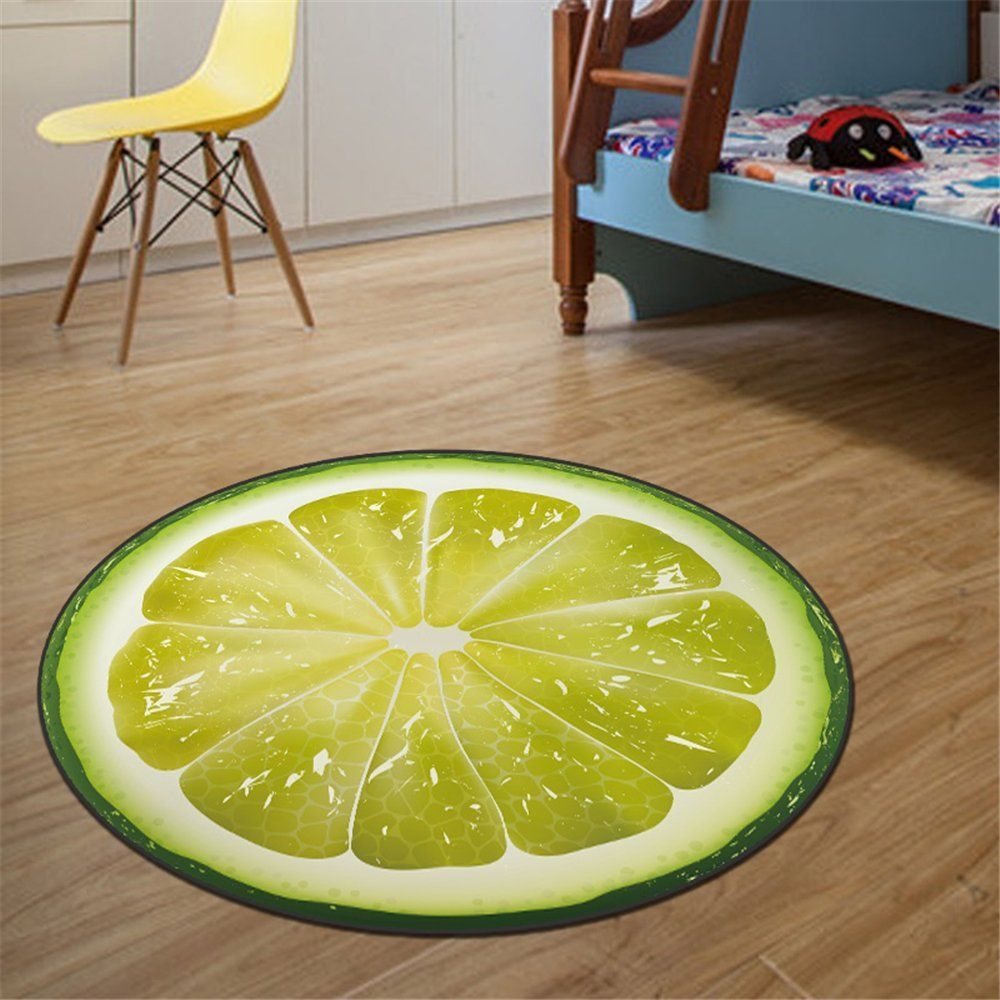 KCASA Print Round Fruit Kids Bedroom Soft Carpets Home Living Room Kitchen  Rugs Computer Chair Mat