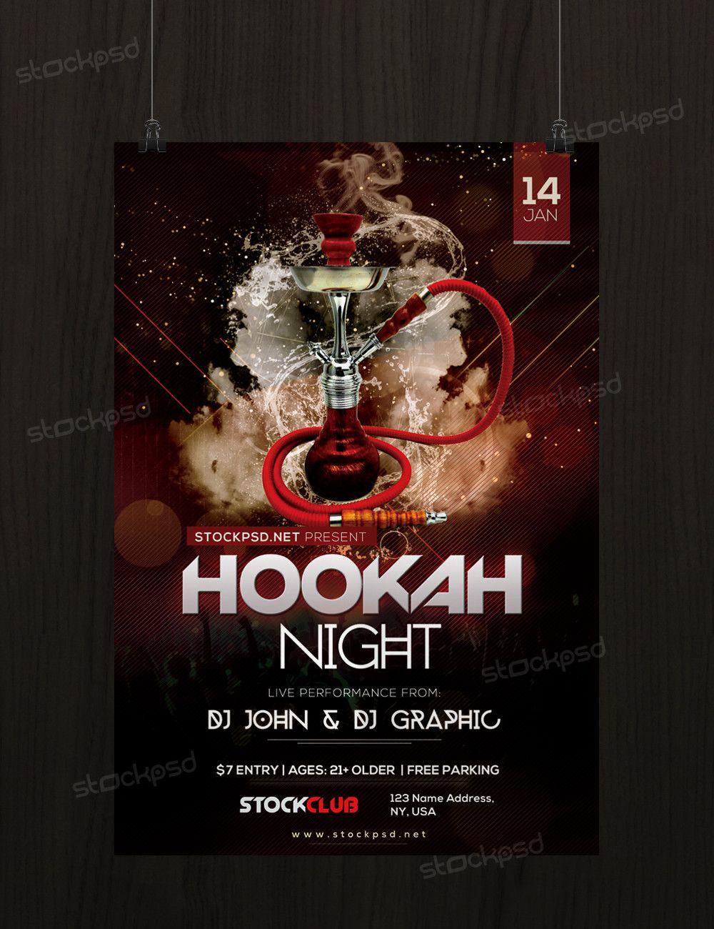 Hookah Night Free Psd Flyer Template Flyer Festa Modelo De