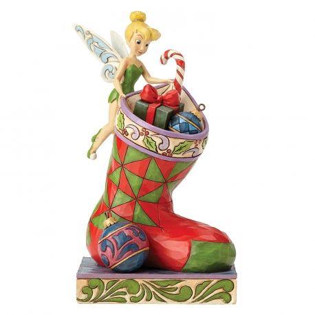 figurine fe avec chaussette et cadeaux nol collection disney traditions jim shore 41 - Chaussette De Noel Disney