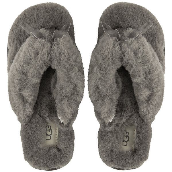 49ce72bc1a16 UGG® Women s Fluff Flip Flop II Slippers - Grey (£70) ❤ liked on Polyvore  featuring shoes and slippers