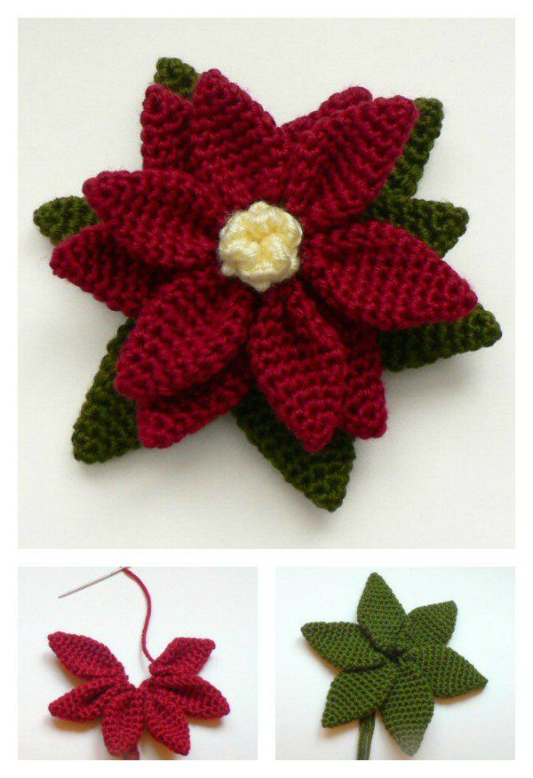 Crochet Poinsettia Flower Free Patterns | Frei, Muster und Blumen