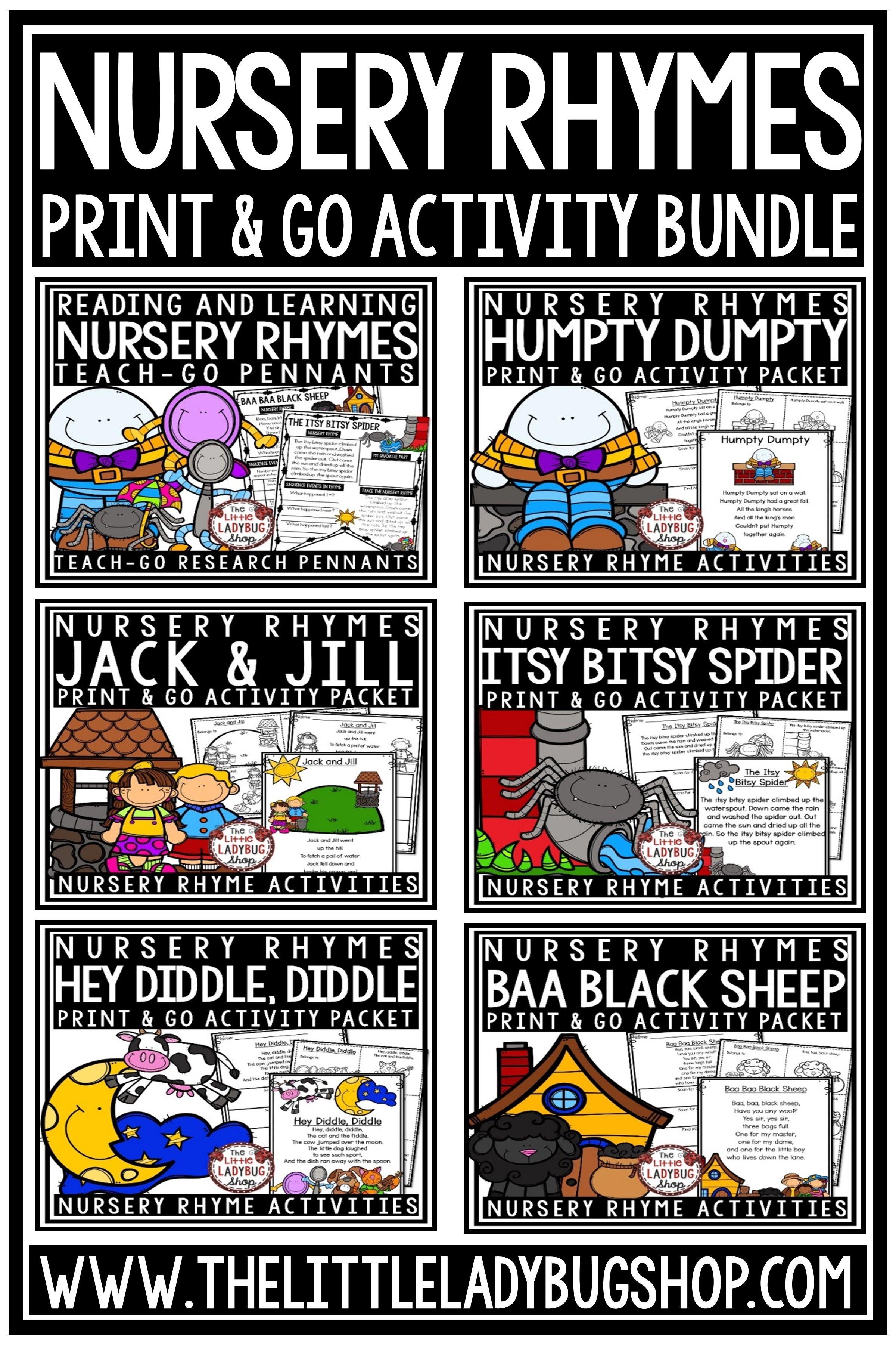 Nursery Rhyme Activities Bundle Nursery Rhyme Printables
