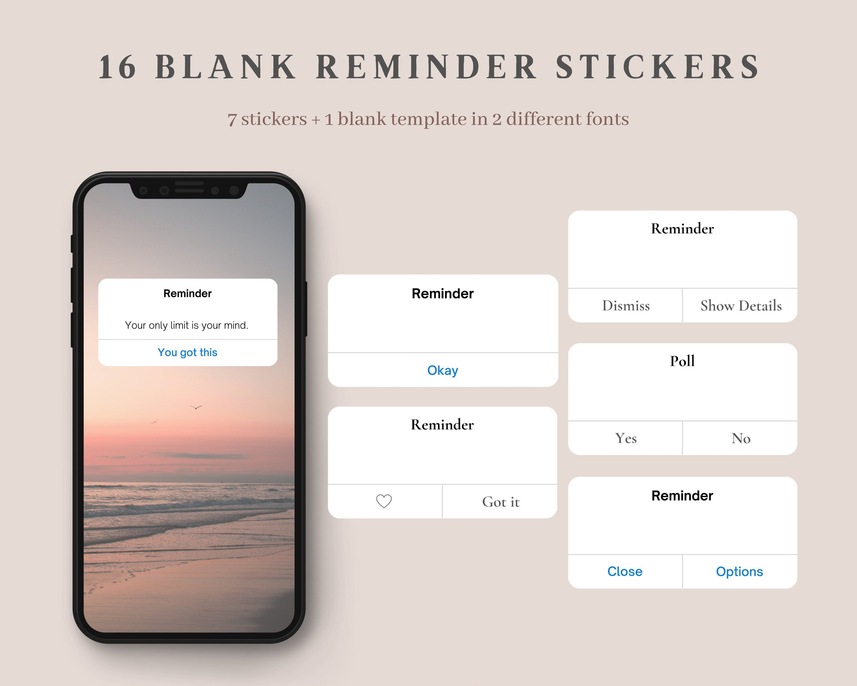 16 Instagram Story Stickers Blank Reminder Stickers Iphone Reminders Transparent Background Stickers Engagement Booster Png Stickers Iphone Reminders Reminder Stickers Instagram Story