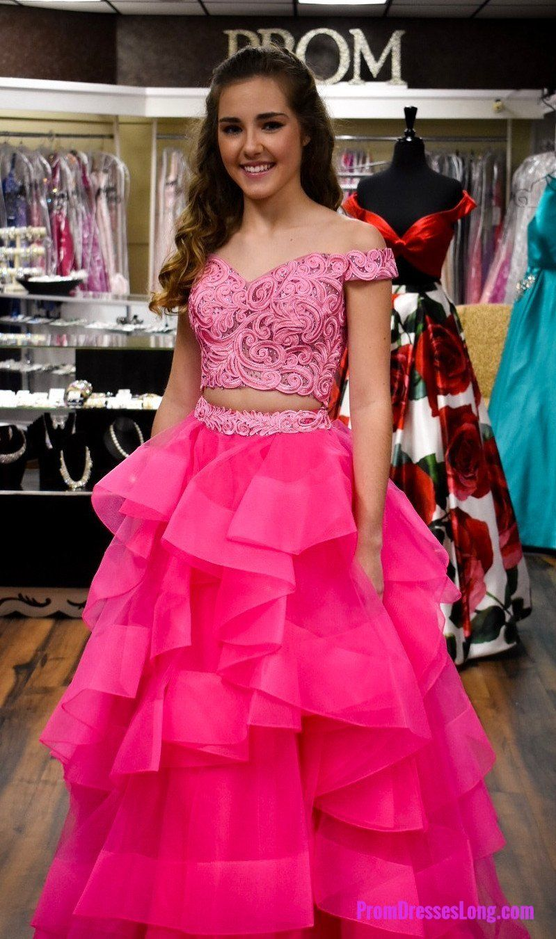 Off shoulder two piece prom dress sexy tulle prom dresses