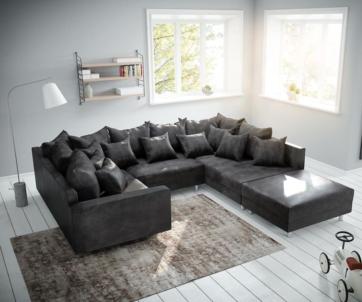 AuBergewohnlich #inspiration   U003e Möbel / Sofas / Wohnlandschaften   DELIFE Wohnlandschaft  Clovis Anthrazit Antik