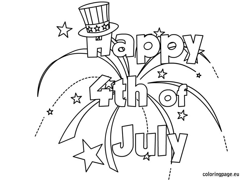 Happy 4th July Coloring For Kids 4th Of July Photos July Images