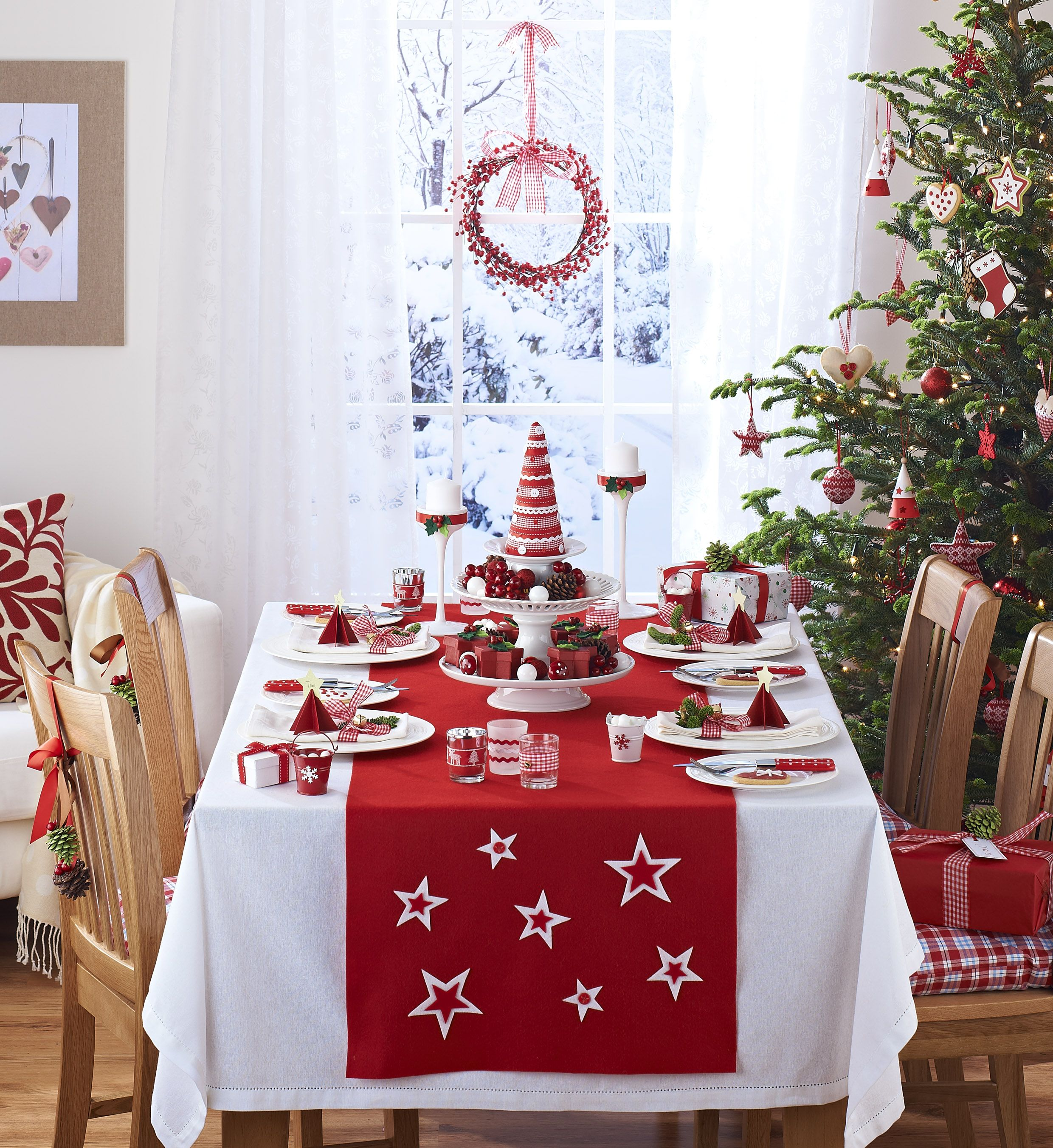Christmas Kitchen Curtains Tablecloth Window Design Ideas Christmas Decorations Red Christmas Decor Christmas Table Settings