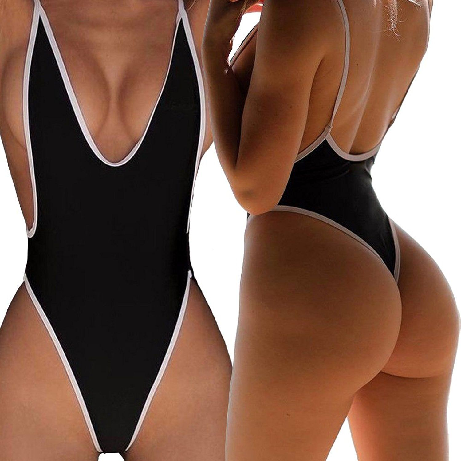 54b2a48c5a562 CROSS1946 Sexy Womens Monokini Deep V One Piece Backless Cheeky Swimwear  Semi Thong Bikini at Amazon Women's Clothing store: