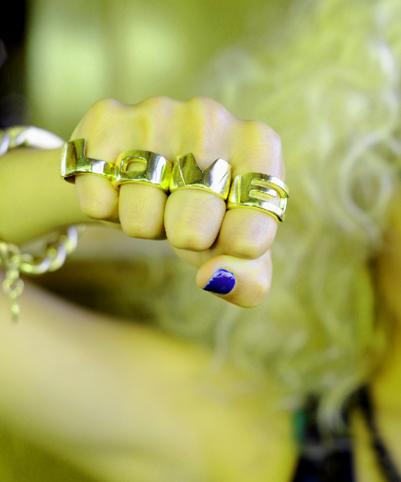 """Tough love. """"L-O-V-E rings"""" by Melody Ehsani, $62."""