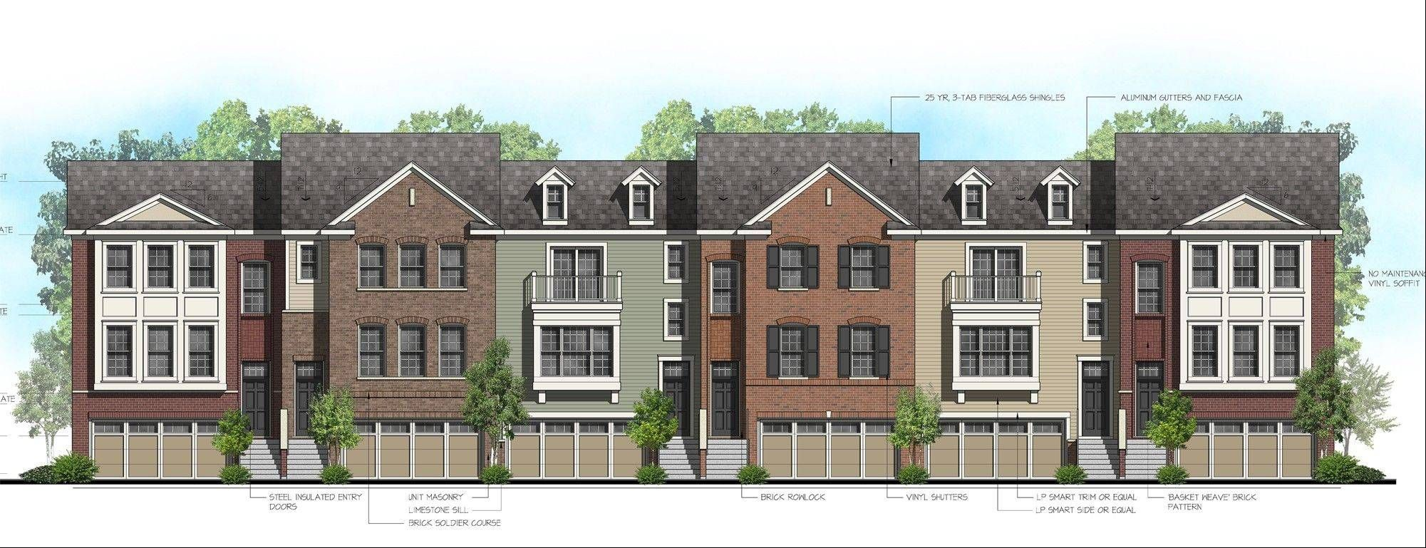 An architectural rendering of one of the row house buildings proposed for the 12 acre pleasant square residential development in schaumburg