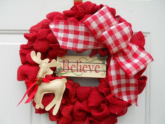 Red Country Christmas Burlap wreath with by ChloesCraftCloset, $36.00