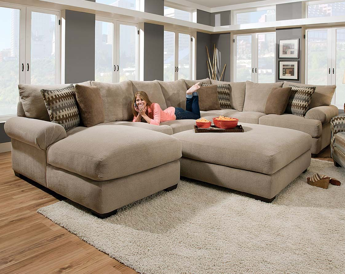 couches tan feet freight american dark brown twill pin couch two sectional piece round sofa