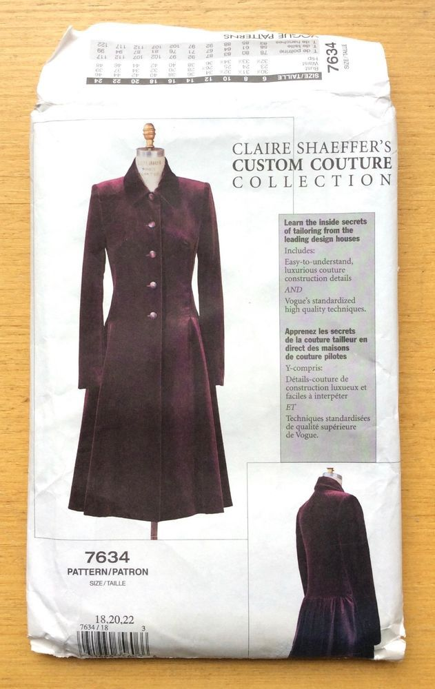 VOGUE Pattern 7634 Claire Shaeffer Custom Couture Lined Coat Sz 18 ...