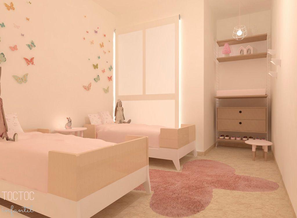 Habitaci n infantil para mellizas con el rosa omnipresente for Vinilos habitacion infantil