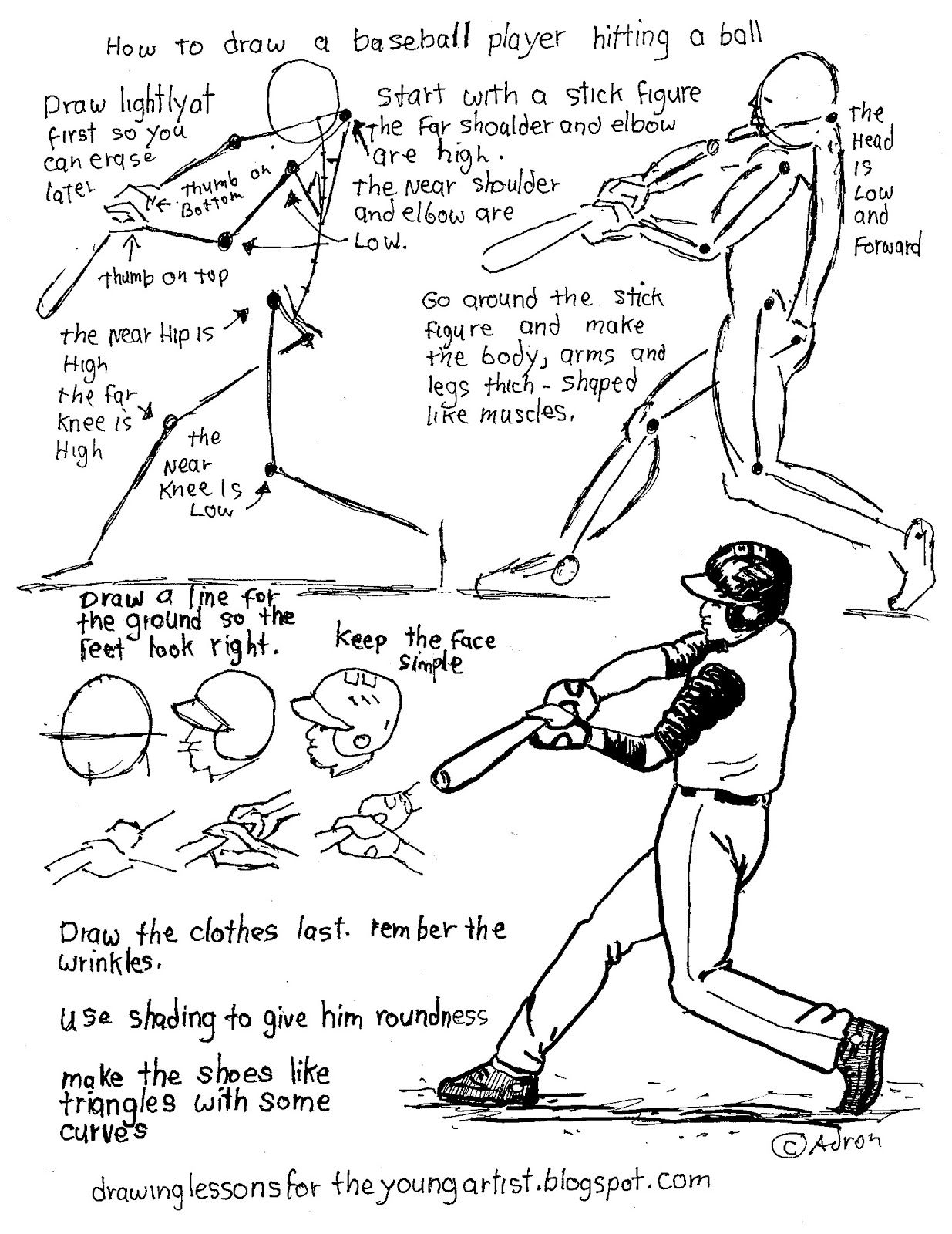 How To Draw A Baseball Player Hitting A Ball Worksheet