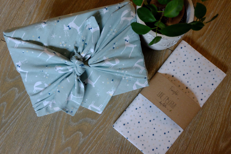 FUROSHIKI - 58 x 58 cm ou 68x68 cm / Animaux et étoiles / Emballage écologique & Zéro déchet - Oeko Tex Classe 100 - / Emballage cadeau