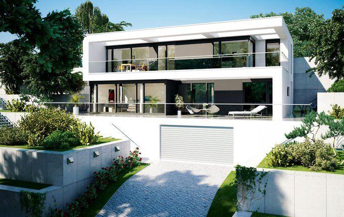 Au enansicht villa modern living fm 104 158 b von okal for Modernes haus villa