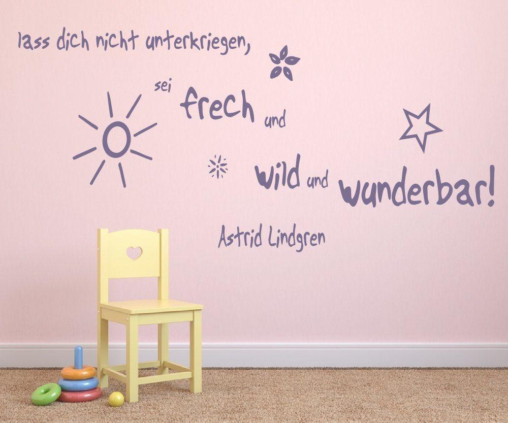 Simple Wandtattoo f rs Kinderzimmer x cm Zitate Zitate Astrid Lindgren Sei frech und