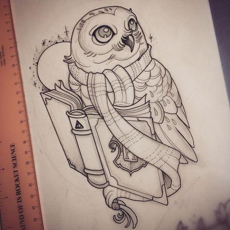 "Photo of ""Hedwig for tomorrow!!! #scytheandspade #harrypottertattoo #yyctattoo #harrypo…"
