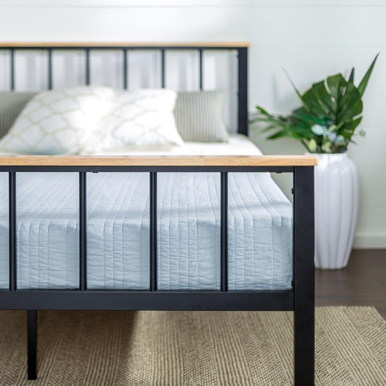 Brianne Metal And Wood Platform Bed Frame Metal Platform Bed
