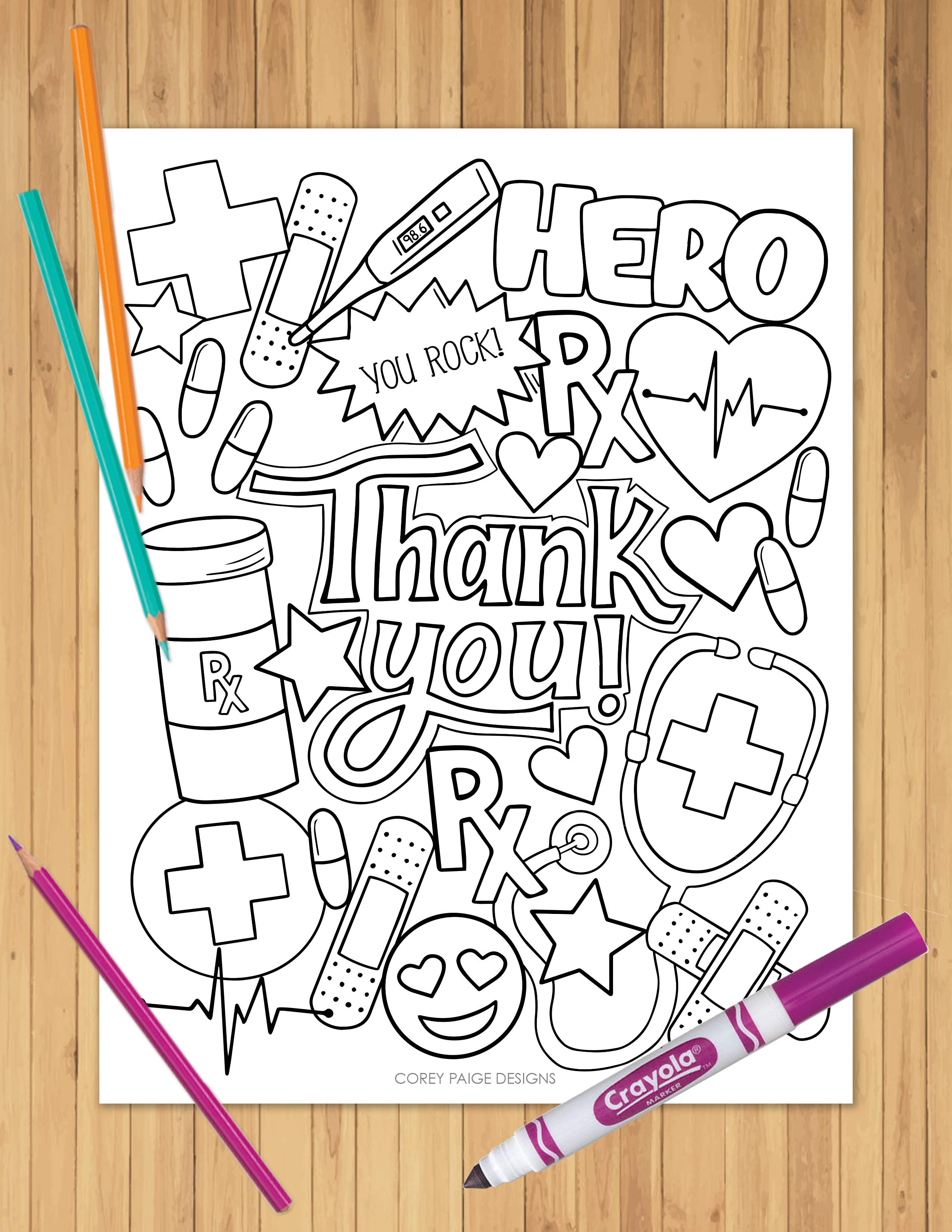Thank You Healthcare Heroes Coloring Sheet In 2020 Fall Coloring Pages Coloring Pages For Teenagers Coloring Pages For Kids