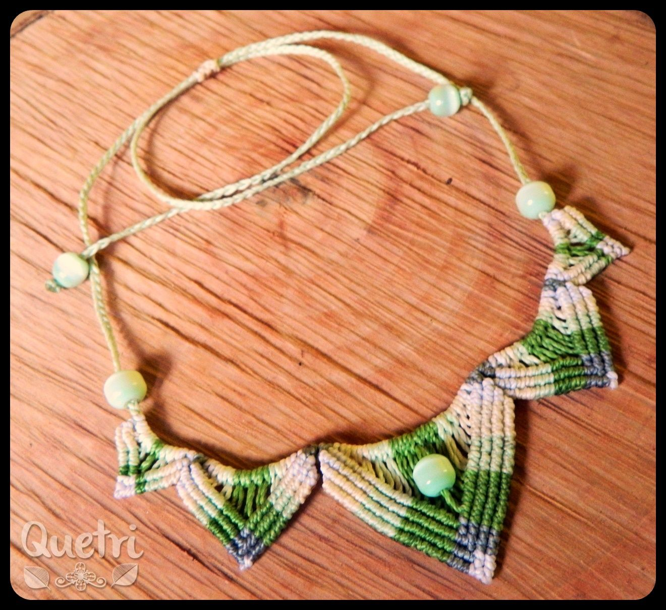Collar Semi Flor De Loto Tonos Verdes Macramé Macramé Collar
