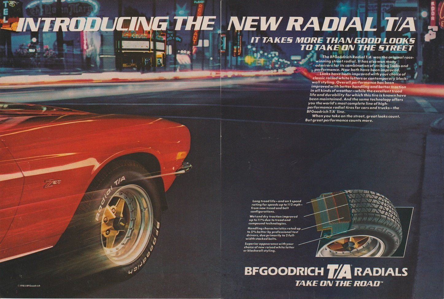 print ad 1986 bf goodrich radial t a tires with chevrolet camaro