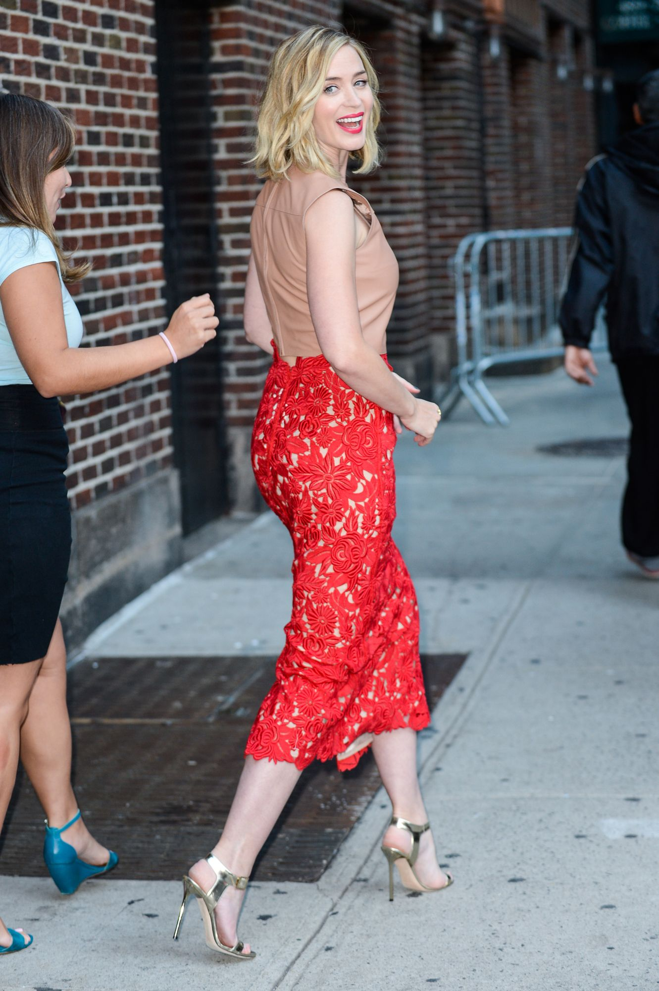 Emily Blunt Looks Lovely in Lace for a Taping of The Late Show with Stephen  Colbert from InStyle.com 536724315c6c