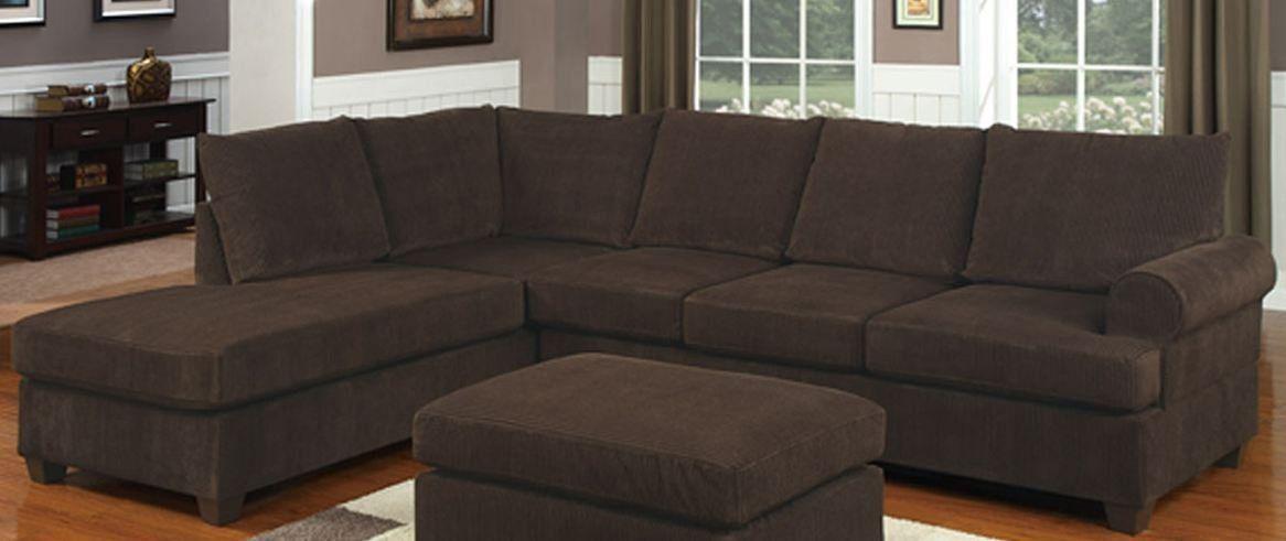 Amazon.com: Poundex F7135 Chocolate Corduroy Microfiber Fabric Sectional Sofa: Kitchen & Dining