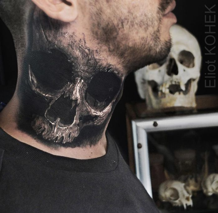 Skull Neck Tattoo Realistic 3d Style Neck Tattoo Neck Tattoo For Guys Side Neck Tattoo