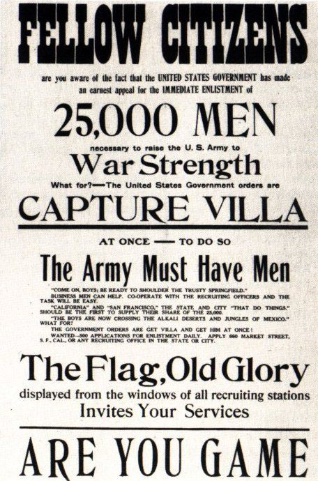Pancho Villa Expedition Recruitment Poster (US, 1916-17)