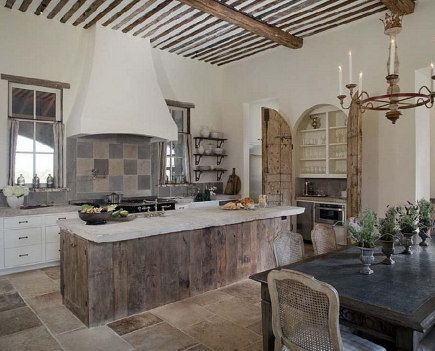 French Cau Style Kitchen With Horizontal Planked Weathered Wood Island Cote De Texas Via Atticmag