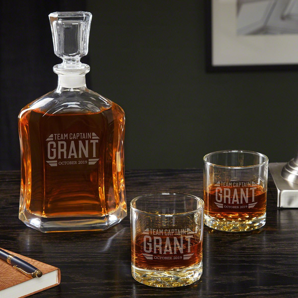 Bradshaw Custom Groomsmen Decanter Glasses Whiskey Decanter Whiskey Decanter