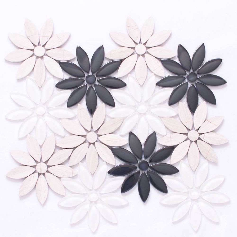 Best Waterjet Flower Mosaic Tile Dusk In 2020 Mosaic Flowers 400 x 300