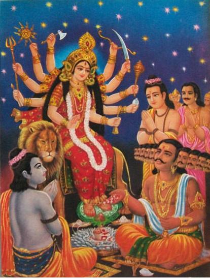Shree Rama and Ravana the king of Lanka are praying to mother Durga.