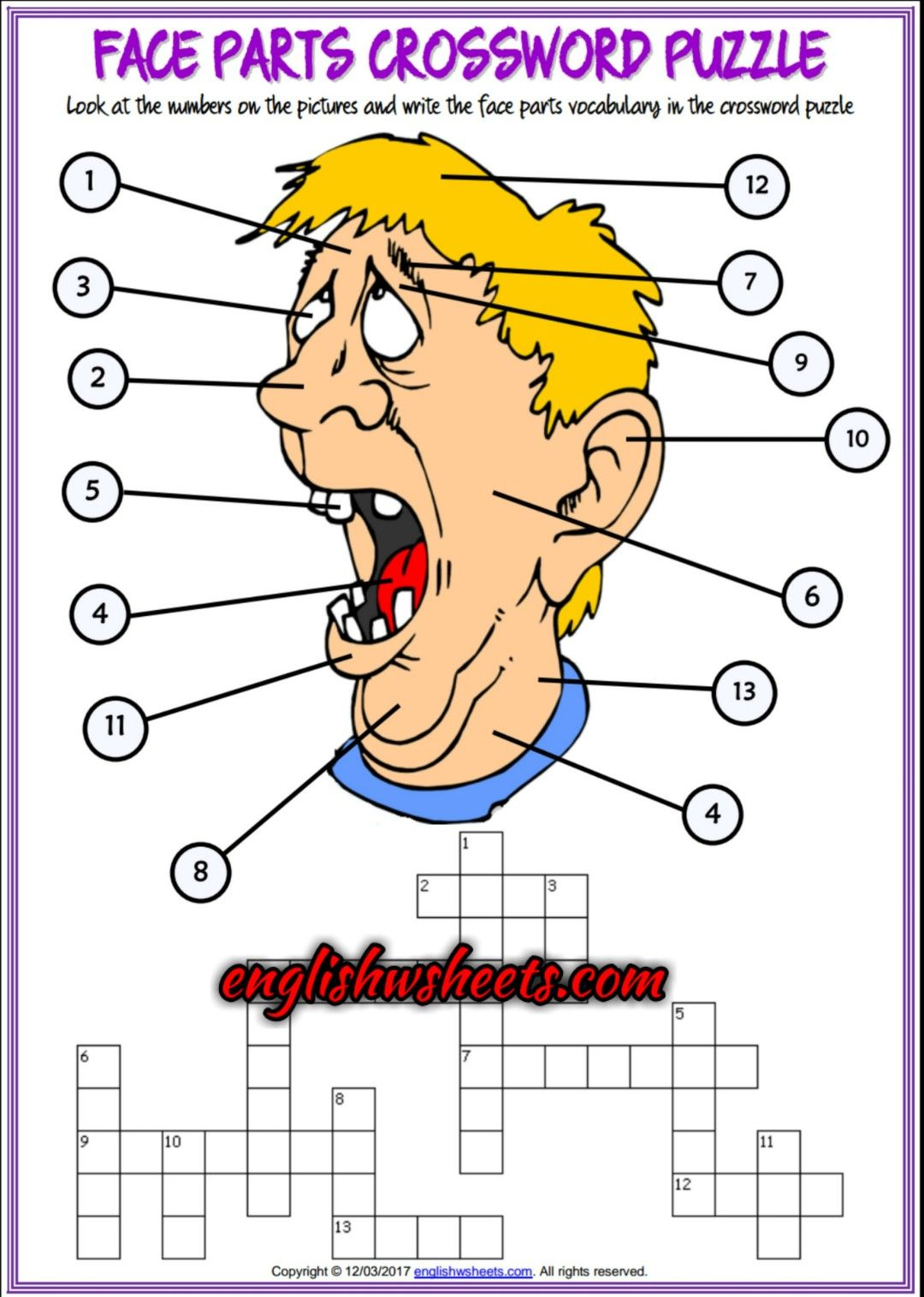 Face Parts Esl Printable Crossword Puzzle Worksheets For Kids