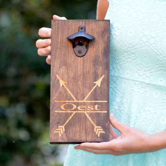 Arrow Bottle Opener Wooden Wall Mount Beer by RedHeartCreations
