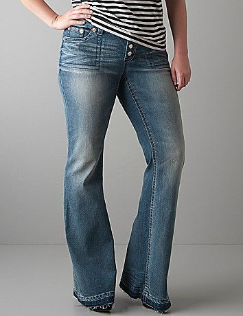 Seven7 Vintage Wash Button Fly Flare Jeans Size 16