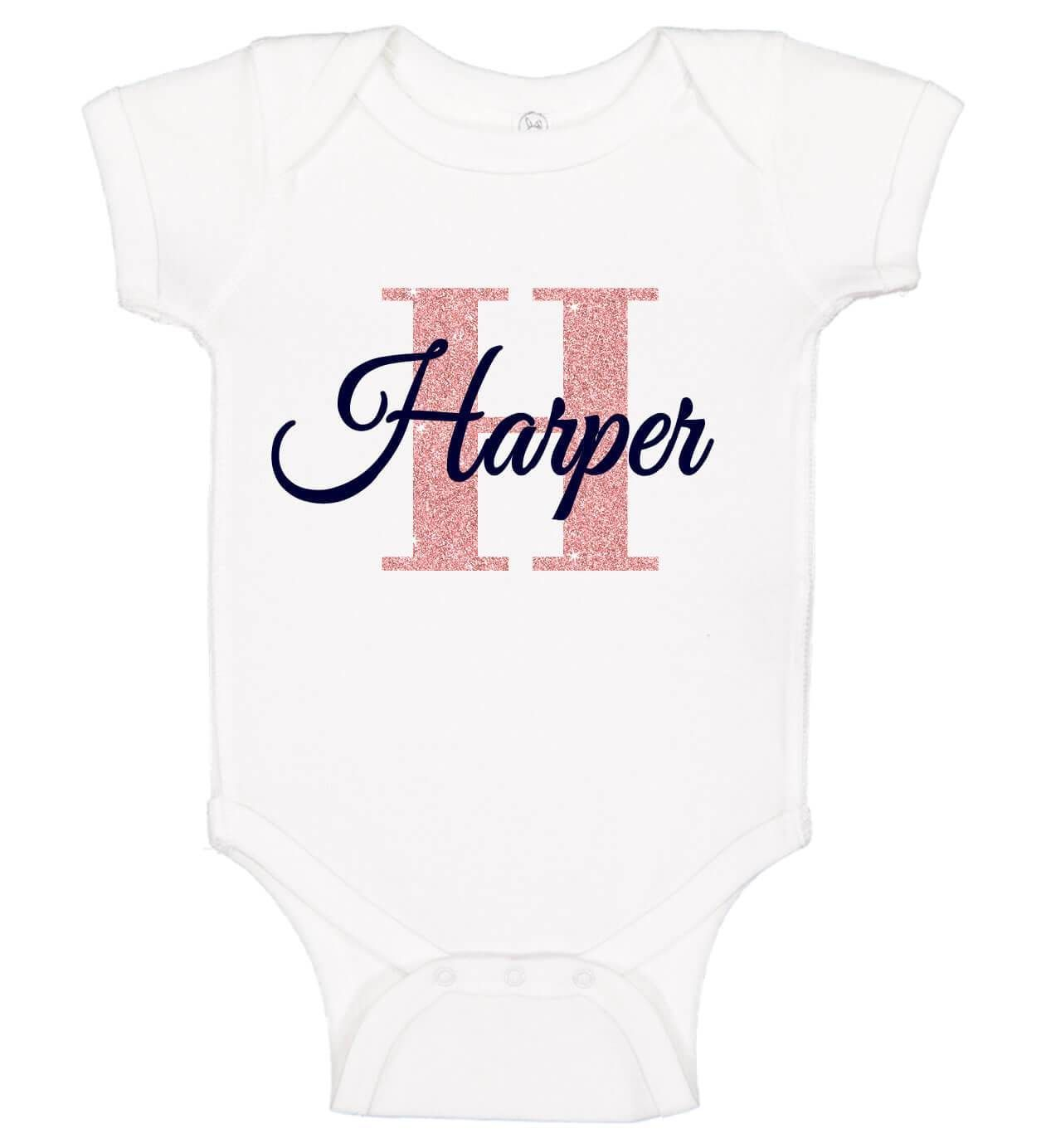 Baby Girl Bodysuit with Name & Initial #babyshirts
