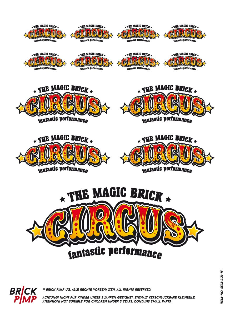 Circus sticker decal suitable for lego 1x2 2x4 tiles and bigger from brick pimp