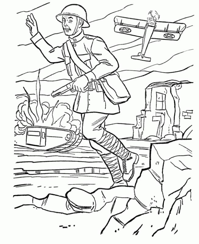 Army Men Joining The War Coloring Pages Educational