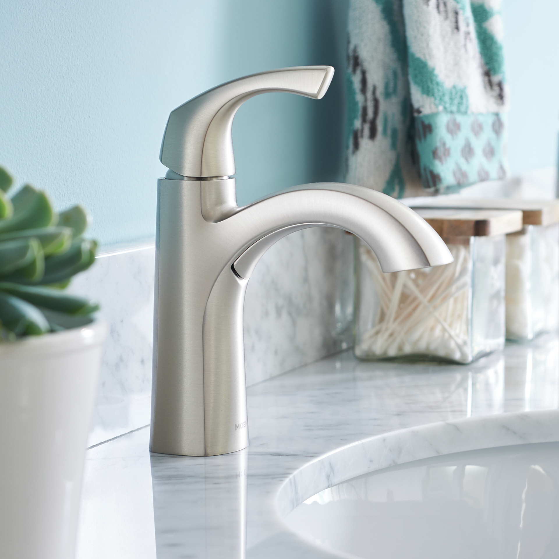 Moen Lindor Spot Resist Brushed Nickel 1 Handle Single Hole 4 In Centerset Watersense Bathroom Faucets Bathroom Faucets Brushed Nickel High Arc Bathroom Faucet