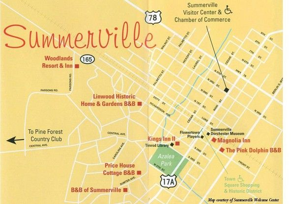 Map Of Summerville Sc Summerville, South Carolina Tourist Map | South Carolina | South  Map Of Summerville Sc