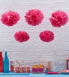 Pom Pom Set - pink - 5-teilig