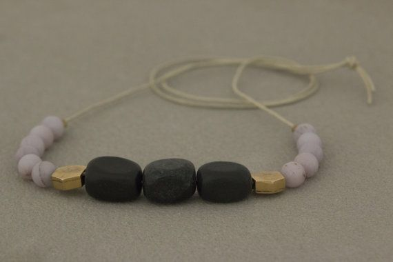 LILAC and BLACK NECKLACE//lilac amethyst/black by flumelab