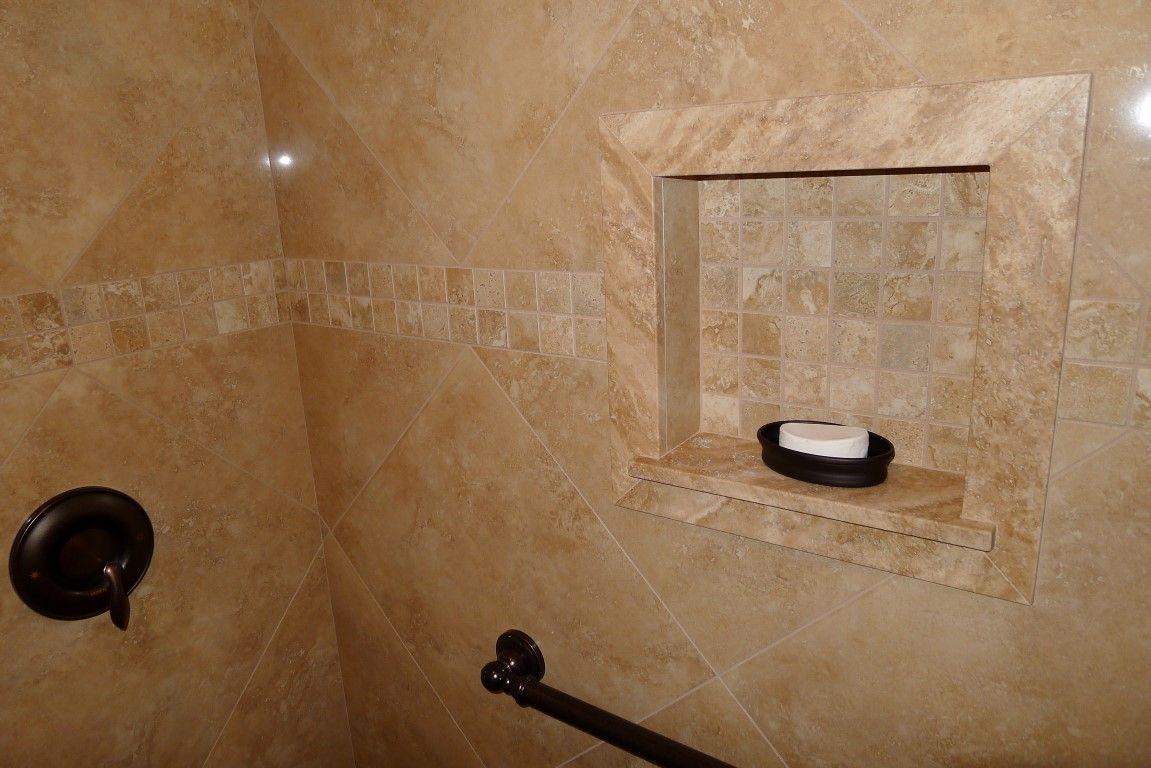 Polished Porcelain 20 X Roma Camel Tile Carmel Travertine Shower Sills Trimmed Soap Niche