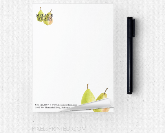 nutritionist notepads, dietitian notepads, personal chef notepads, healthy chef notepads, vegan chef notepads, catering notepads