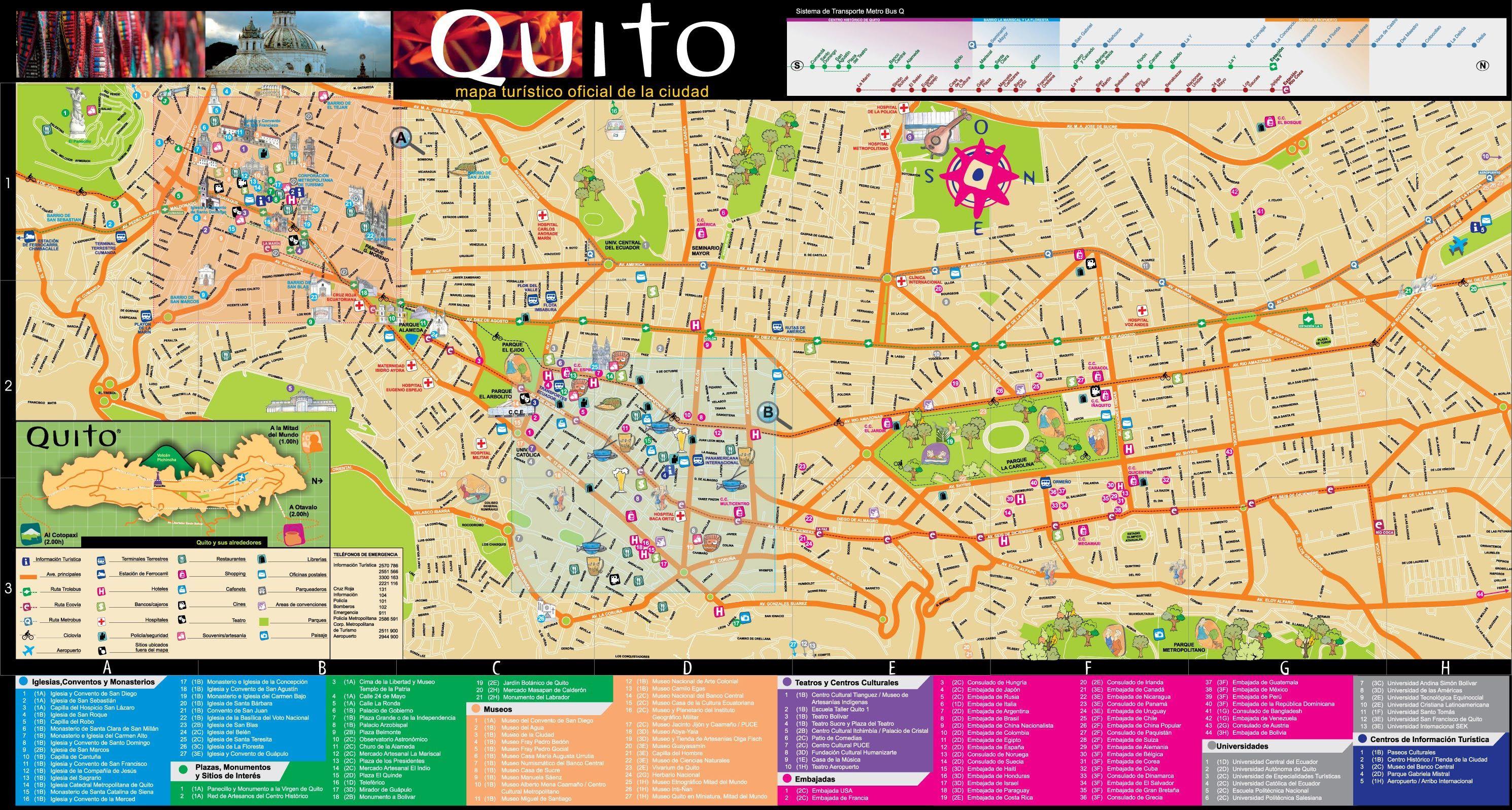 Tourist Map Of Quito Tourist Map Quito Tourist