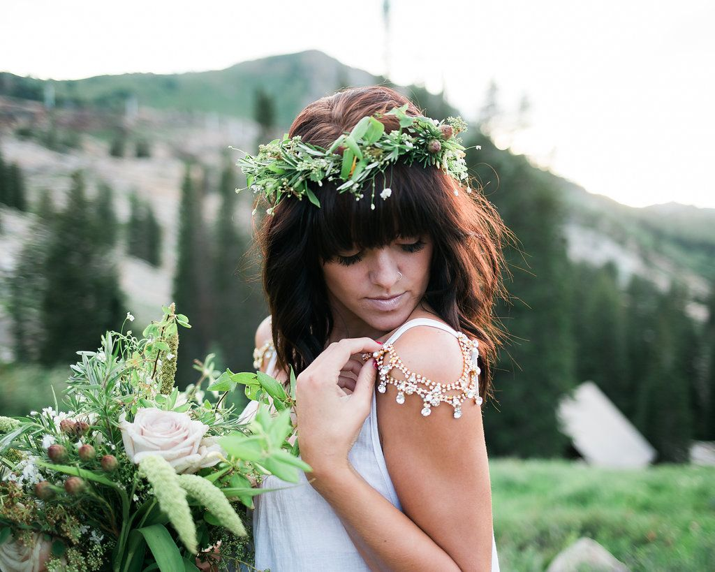 Rosemary floral crown on this stunning hippie bride.